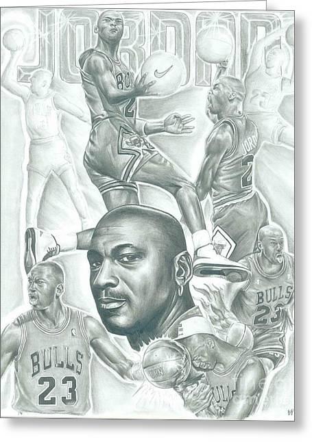 Chicago Bulls Drawings Greeting Cards - Michael Jordan Greeting Card by Kobe Carter