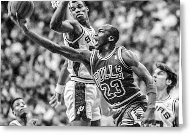 Michael Jordan Photographs Greeting Cards - Michael Jordan Lays Up The Admiral Greeting Card by Richard Yee