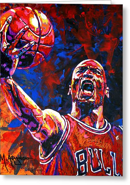 Basketball Paintings Greeting Cards - Michael Jordan Layup Greeting Card by Maria Arango