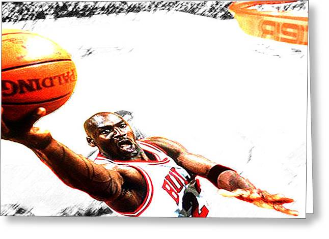 Ewing Greeting Cards - Michael Jordan Lift Off Greeting Card by Brian Reaves