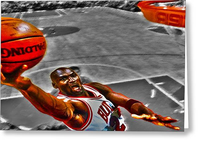 Patrick Ewing Greeting Cards - Michael Jordan Lift Off II Greeting Card by Brian Reaves