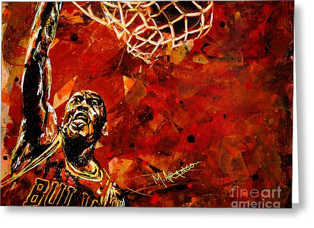 Dunking Paintings Greeting Cards - Michael Jordan Greeting Card by Maria Arango