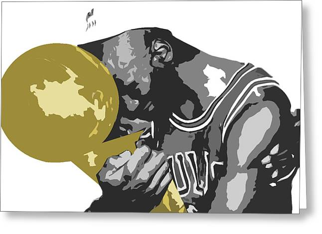 Stencil Spray Greeting Cards - Michael Jordan Greeting Card by Mike Maher
