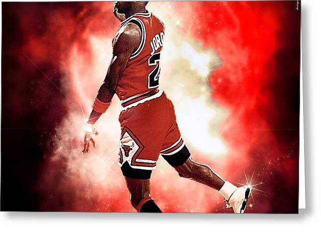 Michael Jordan Greeting Card by NIcholas Grunas Cassidy