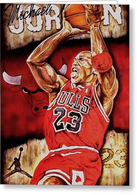 Michael Jordan Greeting Cards - Michael Jordan Oil Painting Greeting Card by Dan Troyer