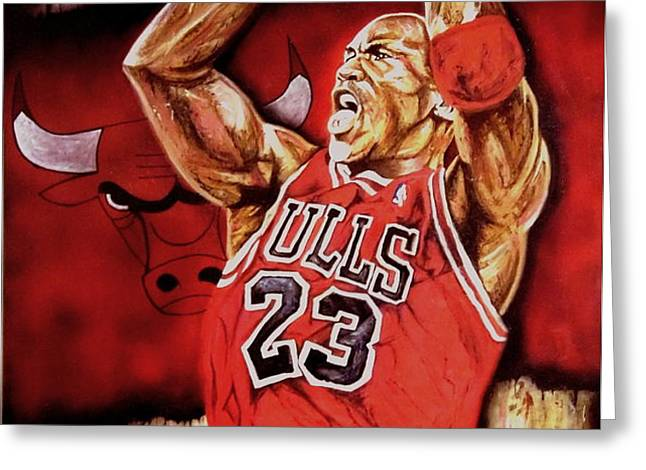 Michael Jordan Oil Painting Greeting Card by Dan Troyer