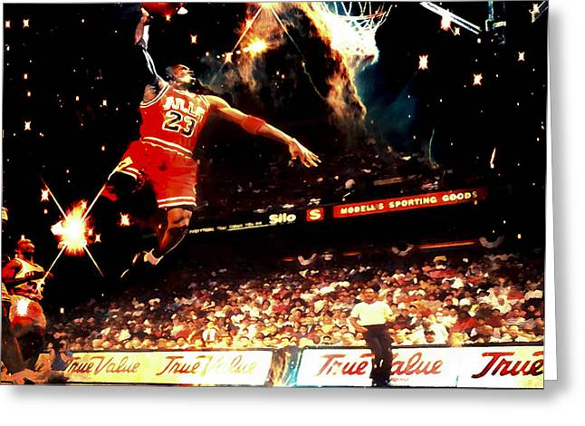 Mj Digital Art Greeting Cards - Michael Jordan Out of this World Greeting Card by Brian Reaves