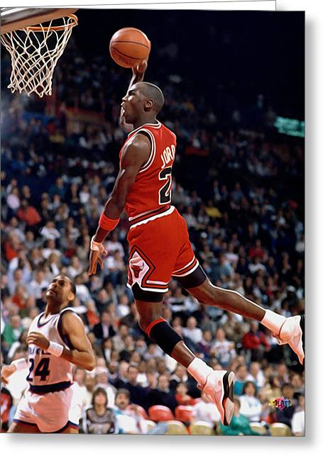 Dunking Paintings Greeting Cards - Michael Jordan  Greeting Card by Paint Splat