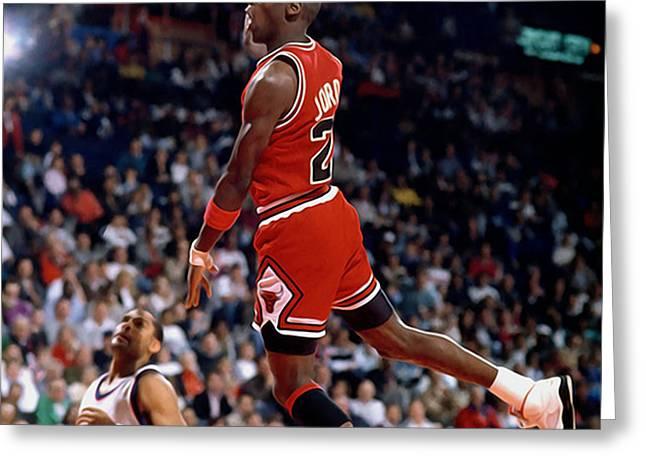 Michael Jordan  Greeting Card by Paint Splat