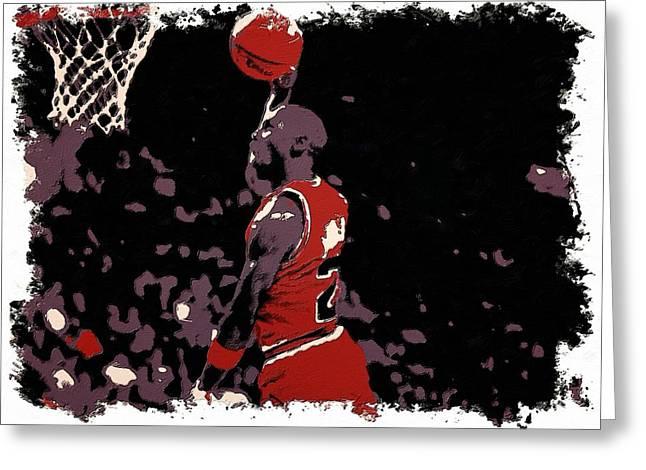 Chicago Bulls Digital Greeting Cards - Michael Jordan Poster Art Dunk Greeting Card by Florian Rodarte