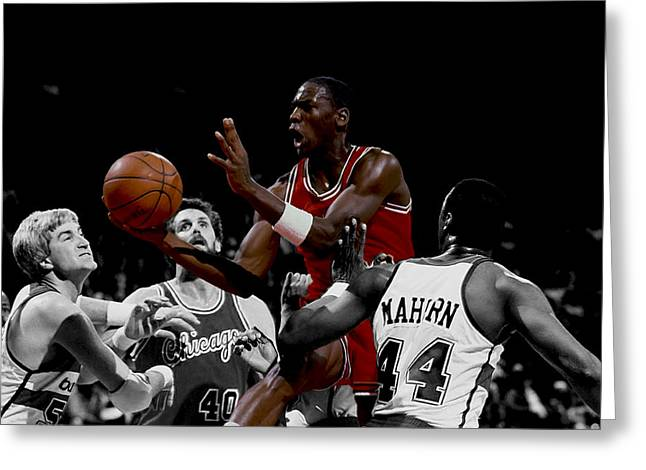 Rookie Of The Year Greeting Cards - Michael Jordan Rookie Year Greeting Card by Brian Reaves