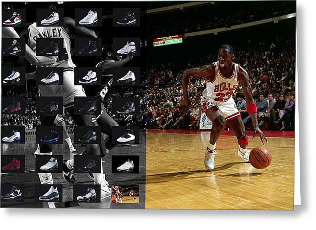 Basket Greeting Cards - Michael Jordan Shoes Greeting Card by Joe Hamilton