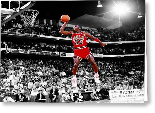 Mj Greeting Cards - Michael Jordan Slam Dunk Contest Greeting Card by Brian Reaves