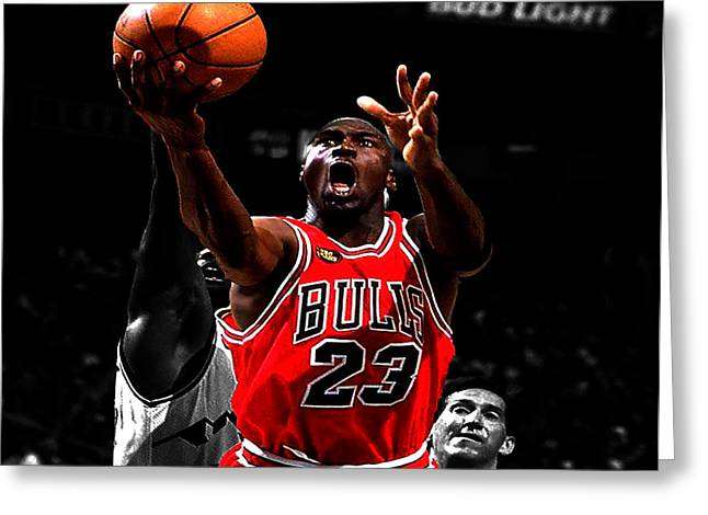 Michael Jordan Greeting Cards - Michael Jordan Soft Touch Greeting Card by Brian Reaves