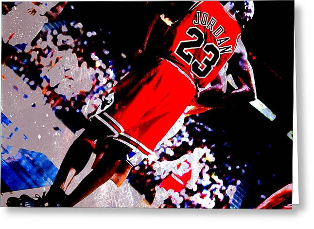 Air Jordan Mixed Media Greeting Cards - Michael Jordan Standing Tall Greeting Card by Brian Reaves