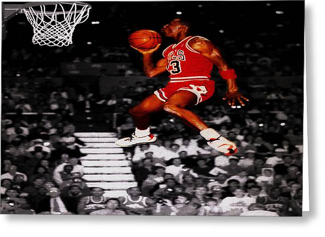 Patrick Ewing Greeting Cards - Michael Jordan Suspended in Mid Air Greeting Card by Brian Reaves