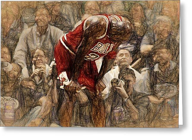 Dunking Paintings Greeting Cards - Michael Jordan The Flu Game Greeting Card by John Farr