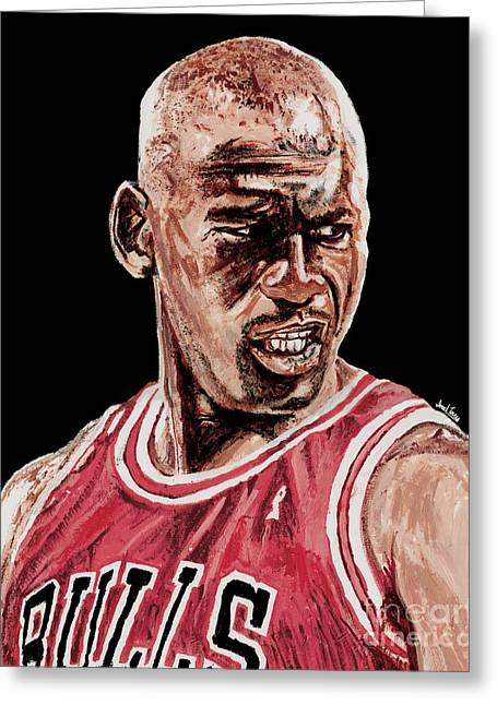 Slam Dunk Paintings Greeting Cards - Michael Jordan The Intimidator Greeting Card by Israel Torres
