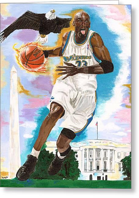 Mj Paintings Greeting Cards - Michael Jordan Wizards Greeting Card by Jeff Gomez