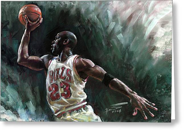 Michael Jordan Greeting Cards - Michael Jordan Greeting Card by Ylli Haruni