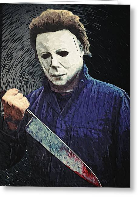 Castle Horror Illustration Greeting Cards - Michael Myers  Greeting Card by Taylan Soyturk