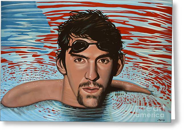 Athens Greeting Cards - Michael Phelps Greeting Card by Paul  Meijering