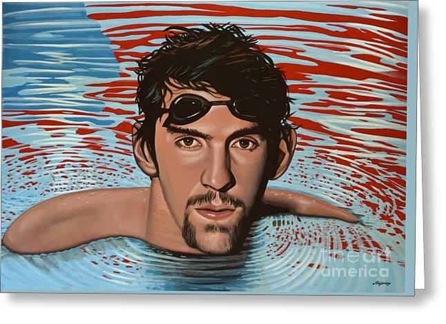 Swimmers Paintings Greeting Cards - Michael Phelps Greeting Card by Paul Meijering
