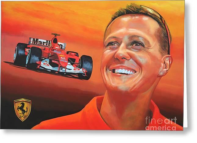 Jordan Greeting Cards - Michael Schumacher 2 Greeting Card by Paul  Meijering