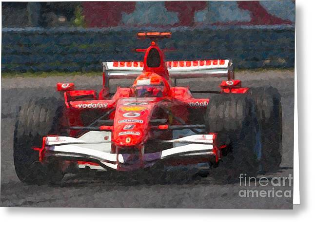 Canadian Grand Prix Greeting Cards - Michael Schumacher Canadian Grand Prix I Greeting Card by Clarence Holmes