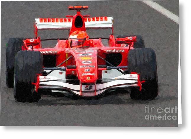 Canadian Grand Prix Greeting Cards - Michael Schumacher Canadian Grand Prix II Greeting Card by Clarence Holmes