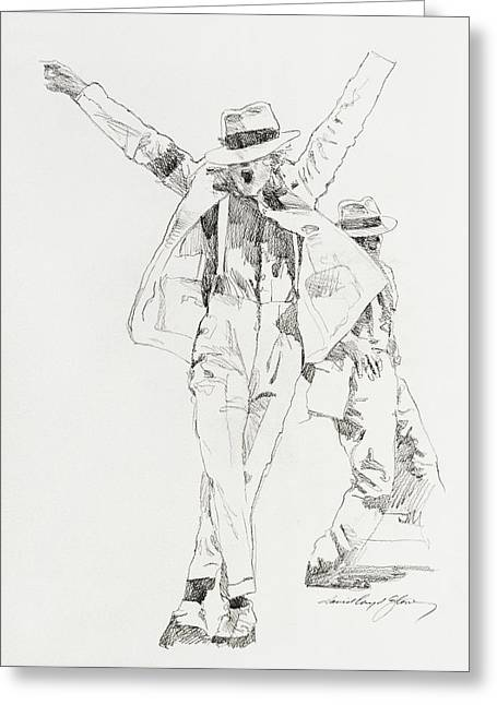 Legend Drawings Greeting Cards - Michael Smooth Criminal Greeting Card by David Lloyd Glover