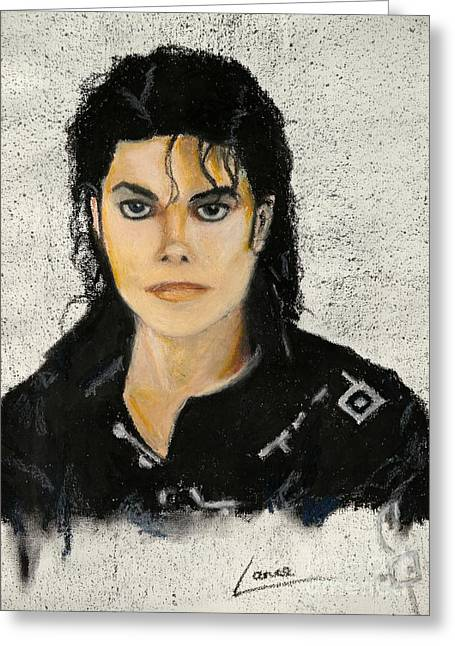 Jackson Pastels Greeting Cards - MichaelJacksonInOilPastel Greeting Card by Lance Sheridan-Peel