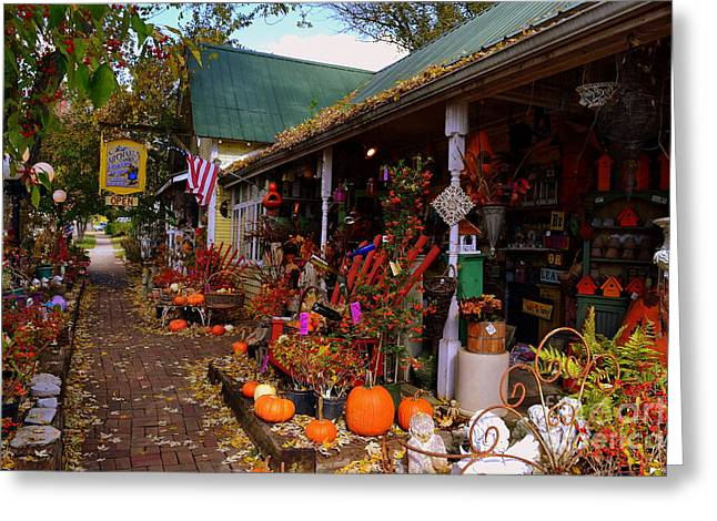 Indiana Flowers Greeting Cards - Michaels Flower Shop in Fall Greeting Card by Amy Lucid