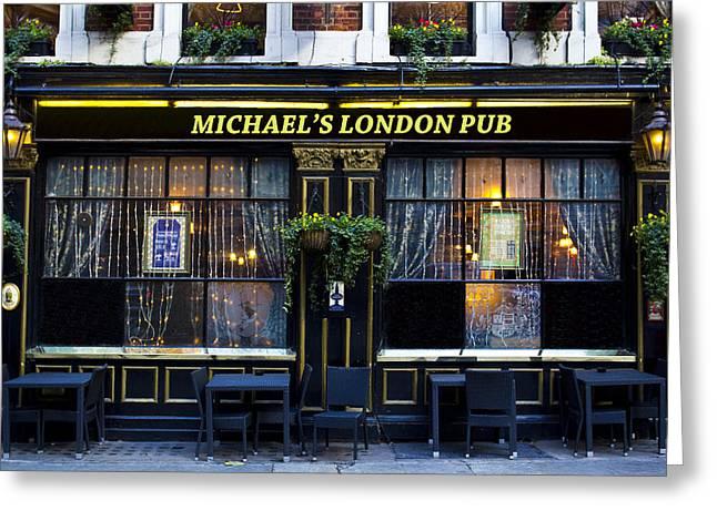 Michael's London Pub Greeting Card by David Pyatt