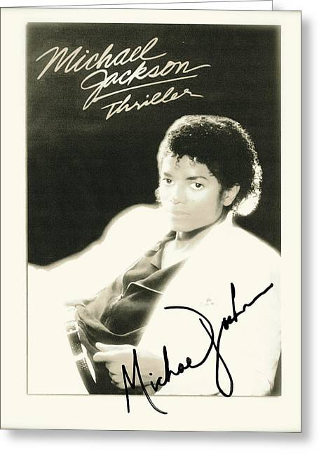 Autographed Mixed Media Greeting Cards - Micheal Jackson Signed Thriller Poster Greeting Card by Desiderata Gallery