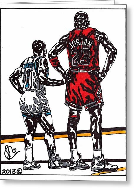 Jordan Drawings Greeting Cards - Micheal Jordan 1 Greeting Card by Jeremiah Colley