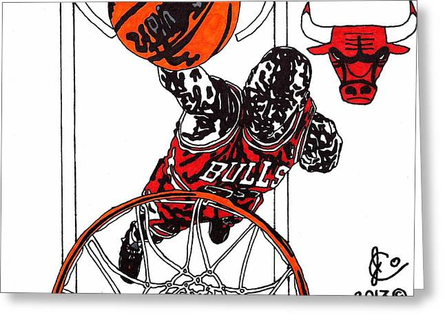 Chicago Bulls Art Drawings Greeting Cards - Micheal Jordan 2 Greeting Card by Jeremiah Colley