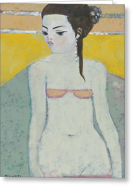 Swimsuit Greeting Cards - Michela Again Oil On Board Greeting Card by Endre Roder