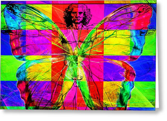 Vitruvian Man Greeting Cards - Leonardo da Vinci Butterfly Man DSC2969 v1 square Greeting Card by Wingsdomain Art and Photography