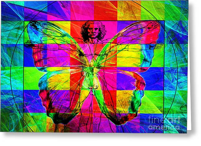 Vitruvian Man Greeting Cards - Leonardo da Vinci Butterfly Man DSC2969 v1 Greeting Card by Wingsdomain Art and Photography