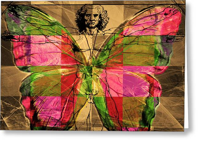 Amazonian Art Greeting Cards - Leonardo da Vinci Butterfly Man DSC2969 v2 square Greeting Card by Wingsdomain Art and Photography