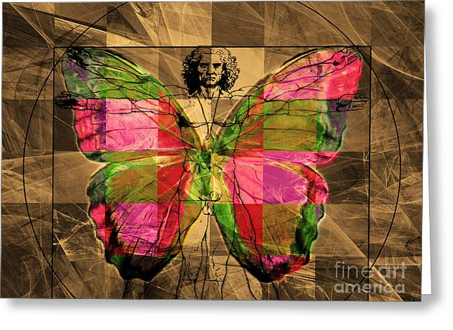 Vitruvian Man Greeting Cards - Leonardo da Vinci Butterfly Man DSC2969 v2 Greeting Card by Wingsdomain Art and Photography