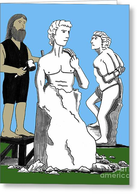 Famous Person Mixed Media Greeting Cards - Michelangelo Carving David Greeting Card by Lee Serenethos