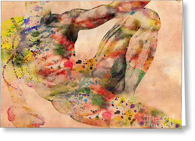 Young Nude Man Mixed Media Greeting Cards - Michelangelo  Greeting Card by Mark Ashkenazi
