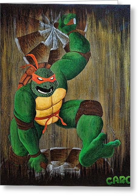 Caron Greeting Cards - Michelangelo Greeting Card by Mike Caron