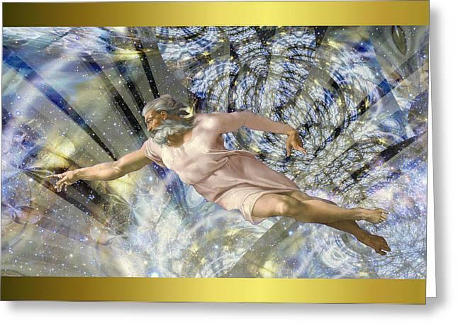 Michelangelo Greeting Cards - Michelangelo Vintage God Greeting Card by Robert Kernodle