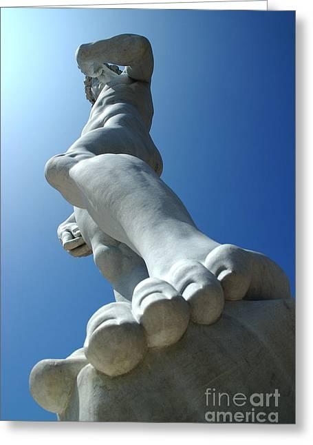 Big Blue Marble Greeting Cards - Michelangelos David 1 Greeting Card by Micah May