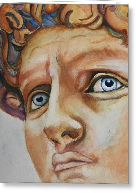 Michelangelo Greeting Cards - Michelangelos David in Color Greeting Card by Christiane Kingsley