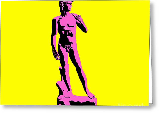 Michelangelo Greeting Cards - Michelangelos David - Punk style Greeting Card by Pixel Chimp