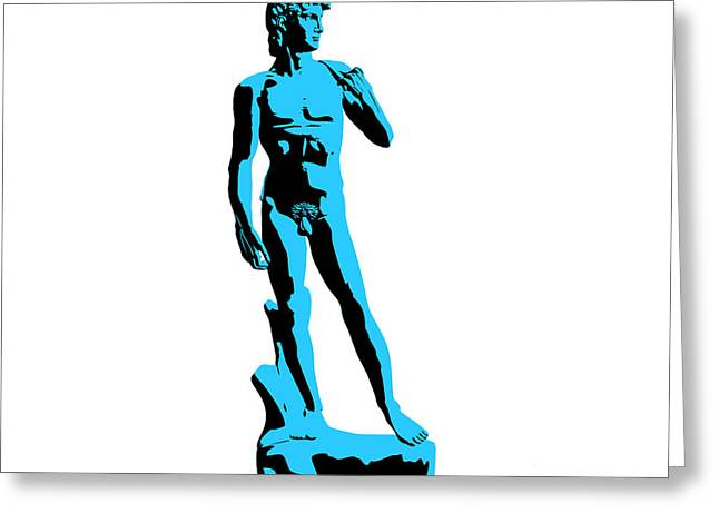 Michelangelo Greeting Cards - Michelangelos David - Stencil style Greeting Card by Pixel Chimp
